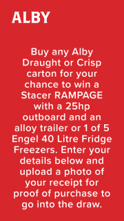 Alby Beer – Win a Stacer Rampage With a 25hp OuTBoard and an Alloy Trailer Or 1 of 5 Engel 40 Litre Fridge Freezers (prize valued at $1,400)