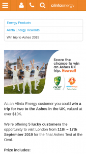 Alinta Energy Customers – Win a Trip for Two to The Ashes In The Uk (prize valued at $70,000)