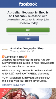 Australian Geographic Shop – Win an Amazing Lifestraw Prize Pack (valued at $149.97) (prize valued at $3)