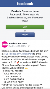 Baskets Because – Win a Mixed Gourmet Hamper Valued at $125 &#127851 As Well As a Free 3 Months 24 Hour Access Gym Membership With Group Classes Valued at $205 &#128170 (prize valued at $125)