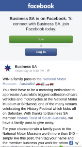 Business SA – Win a Family Pass to The National Motor Museum Worth More Than $40 – head to Our Facebook Page Here (prize valued at $40)