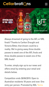 Cellarbrations – Three Double Passes to Week One of The AFL Finals and Three Double Passes to Week One of The Nrl Finals (prize valued at $840)