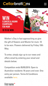 Cellarbrations – Win Flowers & Mumm Champagne