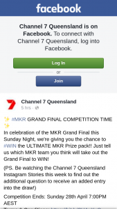 Channel 7 Qld – Win The Ultimate Mkr Prize Pack