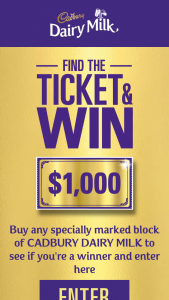 Coles – Cadbury – Win 1 of 500 $1000 Cash Prizes (prize valued at $500,000)