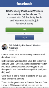 DB Publicity Perth – Will Have 48 Hours to Contact Me at Db Publicity (prize valued at $100)