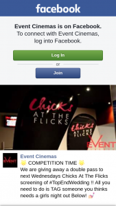 Event Cinemas Australia Fair – a Double Pass to Next Wednesdays Chicks at The Flicks Screening of #topendwedding