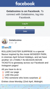 Gelatissimo – Across Our Facebook and Instagram Pages (prize valued at $500)