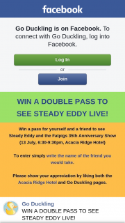 Go Duckling – Win a Double Pass to See Steady Eddy Live