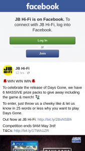 JB HiFi – Including The Game & Merch