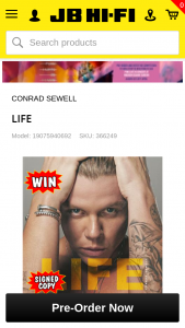 JB Hi-Fi Pre order Conrad Sewell's new album Life to – Win a Double Pass Ticket to See Conrad Sewell Live on His Australian Tour In 2019 a Meet and Greet With Conrad Sewell at The Show