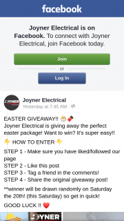 Joyner Electrical – The Perfect Easter Package