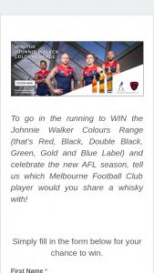Melbourne FooTBall Club – Diageo Australia – Win The Johnnie Walker Colours Range (that's Red