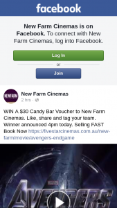 New Farm Cinemas – Win a $30 Candy Bar Voucher to New Farm Cinemas (prize valued at $30)