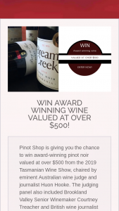 Pinot Shop Australia – Win Award-Winning Wine From The 29th Tasmanian Wine Show Valued at Over $500 (prize valued at $500)