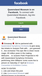 Queensland Museum – Two Tickets to Jurassic Park With… You Guessed It…live Orchestra