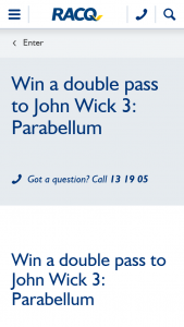RACQ – Win a Double Pass to John Wick 3 Parabellum (prize valued at $40)