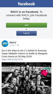 RACV- Win 2 X Tickets to Suncorp Super NeTBall's Vixens Vs Swifts at Margaret Court Arena on 26 May 2019 Https//bitly/2iy7vcu (prize valued at $1,280)