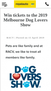 RACV – Win The Prize (prize valued at $1,420)