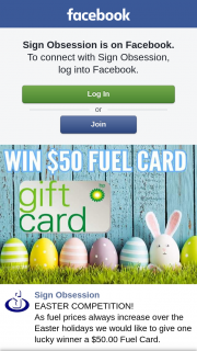 Sign Obsession – a $50.00 Fuel Card (prize valued at $50)