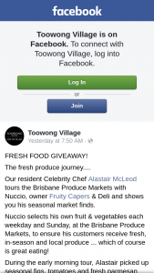Toowong Village – Win a $100 Village Fresh Food Gift Card to Spend at Any of Our Fresh Food Specialty Retailers (prize valued at $100)