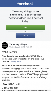Toowong Village – Win a $500 Village Gift Card to Spend on Fashion/accessories at Our Village Retailers (prize valued at $500)