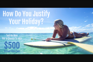 Travel Online – Win a $500 Travel Voucher (prize valued at $500)