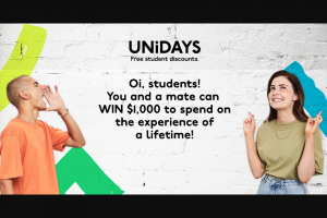 UNiDAYS – Win a Pair of $500 Redballoon Vouchers (prize valued at $500)