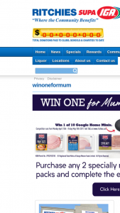 Win One for Mum Online Entry Form Available at – wwwritchies/winoneformum (prize valued at $79)
