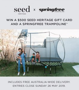 Seed Heritage – Win a $500 gift card PLUS a springfree trampoline