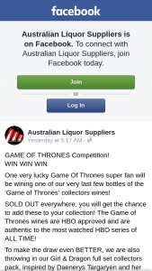 Australian Liquor Suppliers – Win this Incredible Game of Thrones Collection You Must…