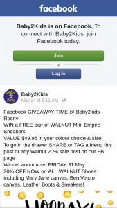 Baby2Kids – Win a Free Pair of Walnut Mini Empire Sneakers (prize valued at $50)