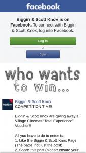 "Biggin & Scott Knox – a Village Cinemas ""total Experience"" Voucher"