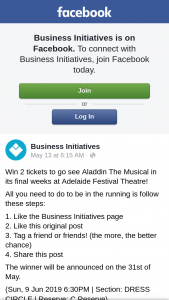 Business Initiatives – Win 2 Tickets to Go See Aladdin The Musical In Its Final Weeks at Adelaide Festival Theatre