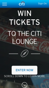 Citibank – Tickets to The Citi Lounge (prize valued at $4)