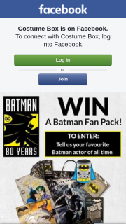 Costume Box – Win a Batman Fan Pack Valued at $120. (prize valued at $120)