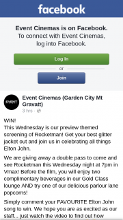 Event Cinemas Garden City Brisbane – a Double Pass to Come and See Rocketman this Wednesday Night at 7pm In Vmax