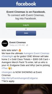Event Cinemas – Win Ultimate Avengers Event Cinemas #datenight