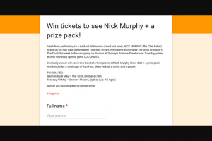Frontier Touring – Tickets to See Nick Murphy a Prize Pack