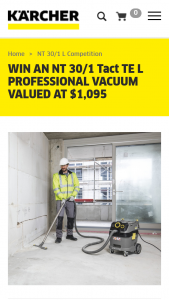 Kaercher – Win an Nt 30/1 Tact Te L Professional Vacuum Valued at $1095 (prize valued at $1,095)