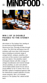 MindFood – Win 1 of 10 Double Passes to The Sydney Fair (prize valued at $30)