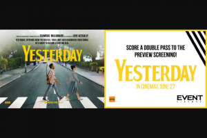 myGC – Win 1/30 Double Pass to The Preview Screening of Yesterday at Event Cinemas Pacific Fair on Wednesday 19th June
