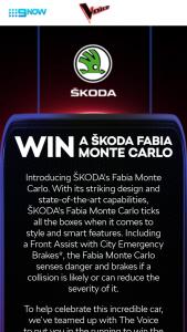Nine Network – The Voice / Skoda – Win a My19 Skoda Fabia Monte Carlo 81tsi (prize valued at $32,290)