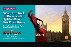 Optus Perks – Win a Trip for 2 to Europe With Spider-Man (prize valued at $19,340)