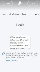 PayPal Digital Gifts – Win a Woolworths Gift Card Valued at $2500 (prize valued at $2,500)