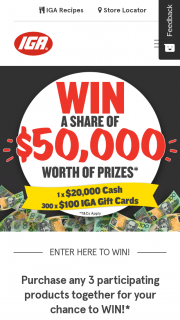 IGA – Win a share of $50,000 including $20,000 cash
