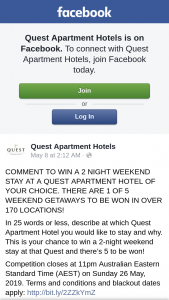 Quest Apartment Hotels – Win a 2 Night Weekend Stay at a Quest Apartment Hotel of Your Choice