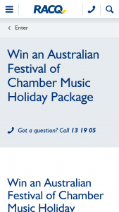 RACQ – Win an Australian Festival of Chamber Music Holiday Package for Two Adults (prize valued at $924)