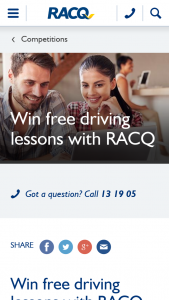 RACQ – Win Free Driving Lessons With Racq  (prize valued at $250)