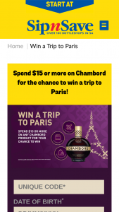 "Sip'n'Save – Bottlemart – ""win a Trip to Paris With Chambord Promotion"" (prize valued at $11,000)"